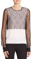 Michael Kors Lace & Silk Crewneck Blouse