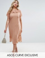 Asos Midi Tea Dress With Pretty Ruffles