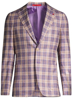 Isaia Plaid Wool Sport Jacket