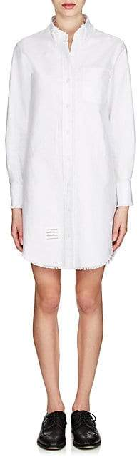 Thom Browne Women's Frayed Cotton Oxford Cloth Shirtdress - White