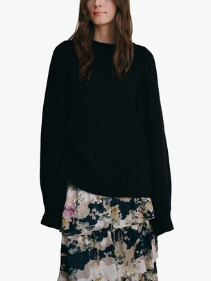 MANGO Ruffle Floral Midi Skirt, Multi