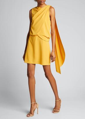 Halston Asymmetric Shoulder Drape Stretch Moss Crepe Dress