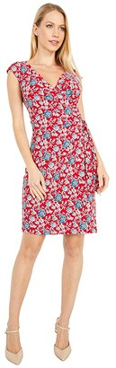 Lauren Ralph Lauren Saida Cap Sleeve Day Dress (Red/Blue/Multi) Women's Dress