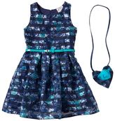 Knitworks Girls 4-6x Belted Floral Burnout Stripe Dress with Crossbody Accessory Purse