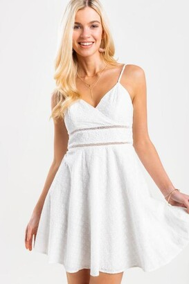 francesca's Qwinn Ladder Trim Dress - White