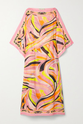 Emilio Pucci Printed Cotton And Silk-blend Voile Kaftan - Baby pink