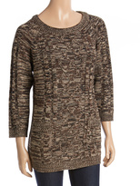 Coffee Bean Cable-Knit Pocket Scoop Neck Tunic