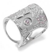 Tatitoto Gioie Women's Ring in 18k Gold with Pink Cubic Zirconia and Cubic Zirconia, Size 5.5, 9 Grams