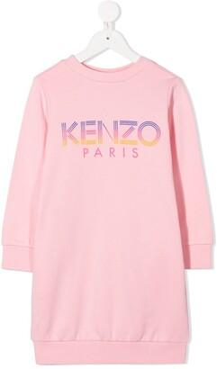 Kenzo Kids Long-Sleeved Logo Print Dress