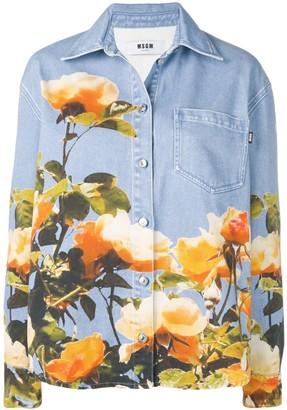 MSGM Floral Print Denim Shirt