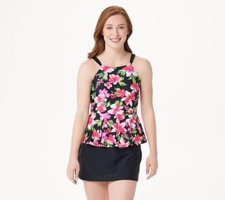 Isaac Mizrahi Live! Floral Peplum Tankini with Skirt