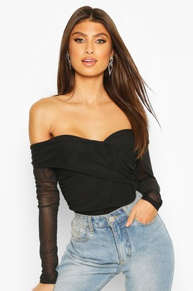 boohoo Ruched Mesh Off The Shoulder Wrap one piece