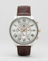 Asos Watch With Brown Faux Leather Strap and Mixed Metal Case