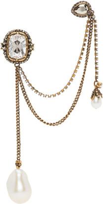 Alexander McQueen Gold Pearl Ear Cuff Single Earring