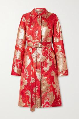 Dries Van Noten Belted Metallic Brocade Coat - Red