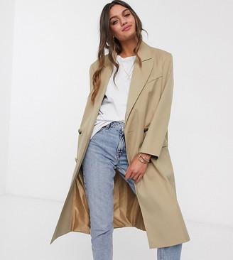 Asos DESIGN Petite classic crepe coat in stone