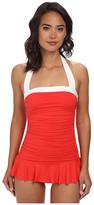 Lauren Ralph Lauren Bel Aire Solids Shirred Bandeau Skirted Mio Slimming Fit One-Piece
