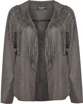 Via Appia Plus Size Open front fringe jacket