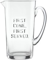 "Kate Spade All in Good Taste ""First Come First Serve"" Glass Pitcher"