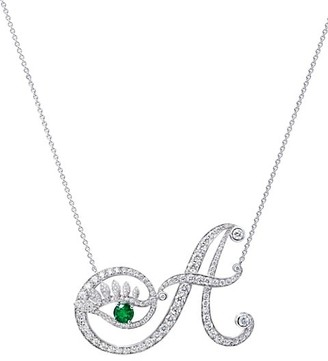Tabayer Eye 18K White Gold, Emerald & Diamond Authentic Pendant Necklace