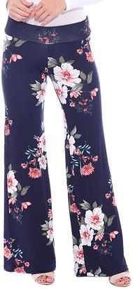 Brooke & Emma Women's Casual Pants ST94 - Navy Floral Palazzo Pants - Women & Plus