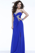 Faviana Strapless Beaded Draped Long Evening Gown 7316