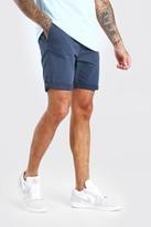 boohoo Mens Navy Skinny Fit Chino Short In Mid Length, Navy