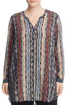 NIC and ZOE Plus Color Streaks Button Down Tunic