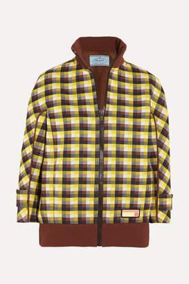 Prada Checked Jacquard-knit Bomber Jacket - Brown