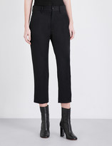 Y's Ys Cropped high-rise wool trousers