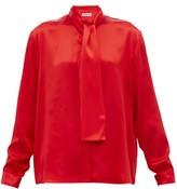 Balenciaga Pussy-bow Silk-satin Blouse - Womens - Red