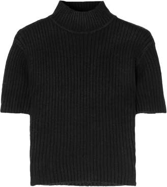 STAUD Cropped Cutout Ribbed-knit Top