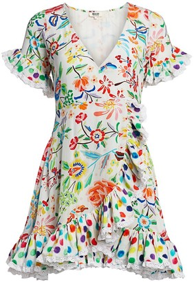 All Things Mochi Valeria Floral Silk Wrap Dress