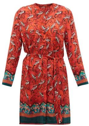 Chufy - Najima Peacock-print Satin-crepe Shirtdress - Womens - Red Multi
