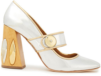 Tory Burch Embellished Metallic Faux Leather Mary Jane Pumps