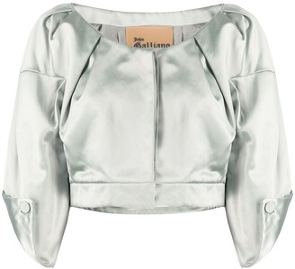 John Galliano Pre Owned 1990s Three-Quarter Sleeves Cropped Top