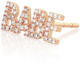 Ef Collection 14K Rose Gold Pave Diamond 'Babe' Single Stud Earring - 0.10 ctw
