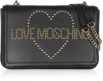 Love Moschino Signature Golden Studs Black Leather Shoulder Bag
