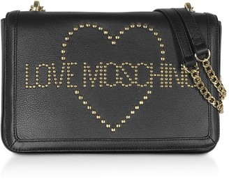 Love Moschino Signature Golden Studs Black Leather Shoulder Bag