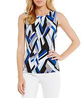 Calvin Klein Petites Abstract Geometric Print Matte Jersey Pleat Neck Shell