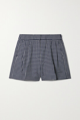 MICHAEL Michael Kors - Pleated Checked Cotton-blend Shorts - Blue