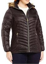 MICHAEL Michael Kors Plus Faux-Fur Hood Chevron Down Packable Coat