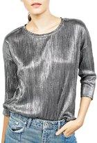 Azbro Women's Metalic Drop Shoulder Pullover Blouse, L