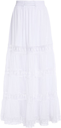 Charo Ruiz Ibiza Emma Crocheted Lace-paneled Cotton-blend Voile Maxi Skirt