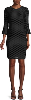 Karl Lagerfeld Paris Velvet Polka Dot Sheath Dress
