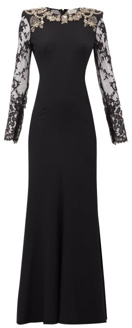 Alexander McQueen Lace-sleeve Crystal-embellished Crepe Gown - Black