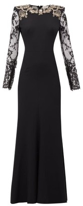 Alexander McQueen Lace-sleeve Crystal-embellished Crepe Gown - Womens - Black