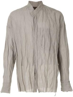 Ziggy Chen Crinkle Band-Collar Shirt