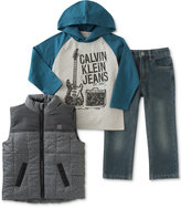 Calvin Klein Little Boys' Vest, Woven Shirt & Pants Set