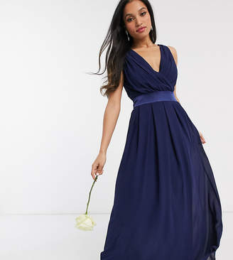 TFNC Petite Petite bridesmaids wrap front sateen bow back maxi in navy-Blue